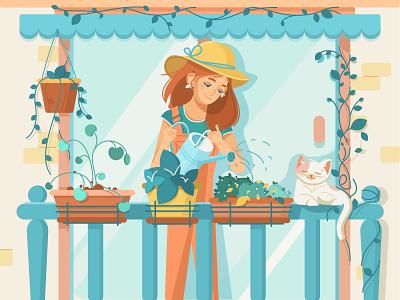Girl gardener watering flowers balcony plant flowers cat gardening flat illustration girl