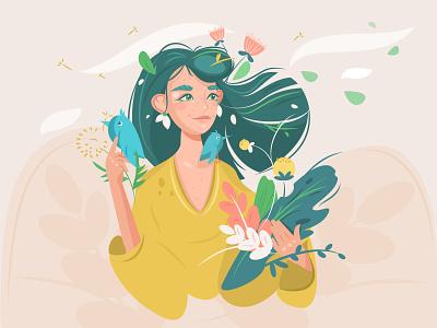 Wood nymph flat illustration vector forestgirl girlwithflowers vectorillustrator