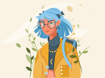 Student girlinglasses girl character