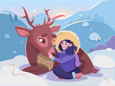 Girl with a deer character design deer girl