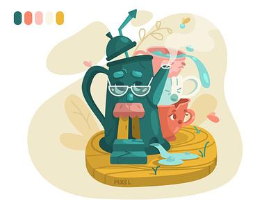Live dishes character flat illustration cups tea teapot