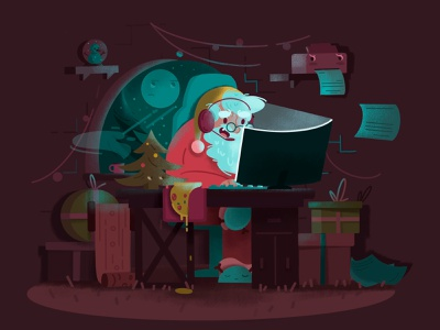 Santa plays computer games christmas winter work desk job work deadline 2021 newyear santaclaus