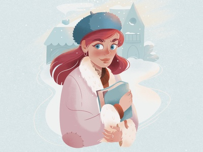 The girl with the book winter tattoo orange pink blue red-haired girl girl