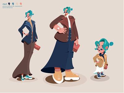 Hyperbolization of a businesswoman business woman illustrator vector hyperbolization of proportions little girl chibi slim slender girl big woman big character