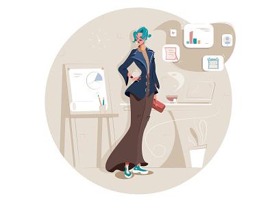Business woman blue hair desk beige work charts office business woman girl illustrator design character