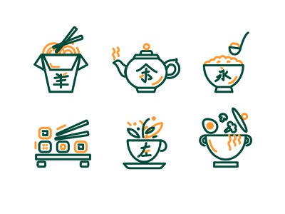 Icons for Japanese cuisine japanese cuisine tea rice rolls icons