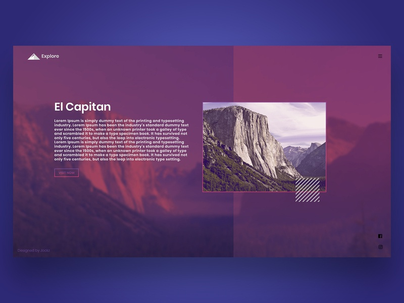 Travel Website css html mountains explore elcapitan modern logo photoshop design webdesign