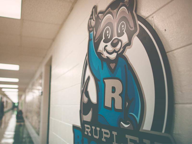Rupley Raccoons // Use sign mural character raccoons raccoon mascot school elementary