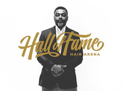 Hall of Fame Hair Arena (Concept A) fame arena hair brand logo calligraphy script shop barber