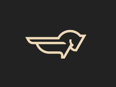 minimal winged horse logo design