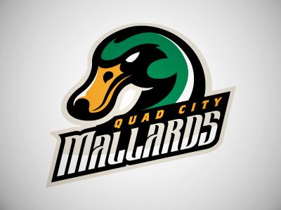 Mallards Alternate Logo quad city mallards hockey mascot brand duck