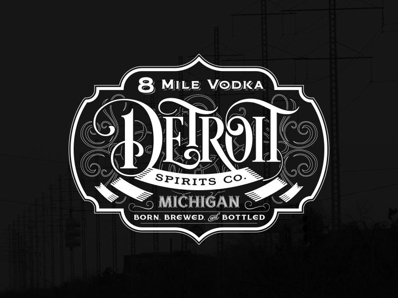8 Mile Vodka alcohol distillery cocktail ornate liquor label spirits detroit vodka