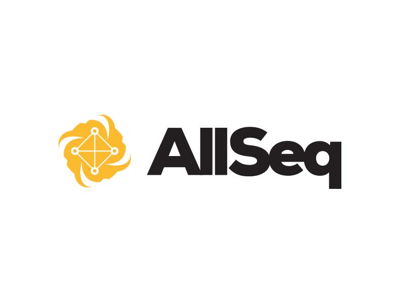 AllSeq - Branding v1 logo branding modern future nucleus molecules market marketplace sequencing dna