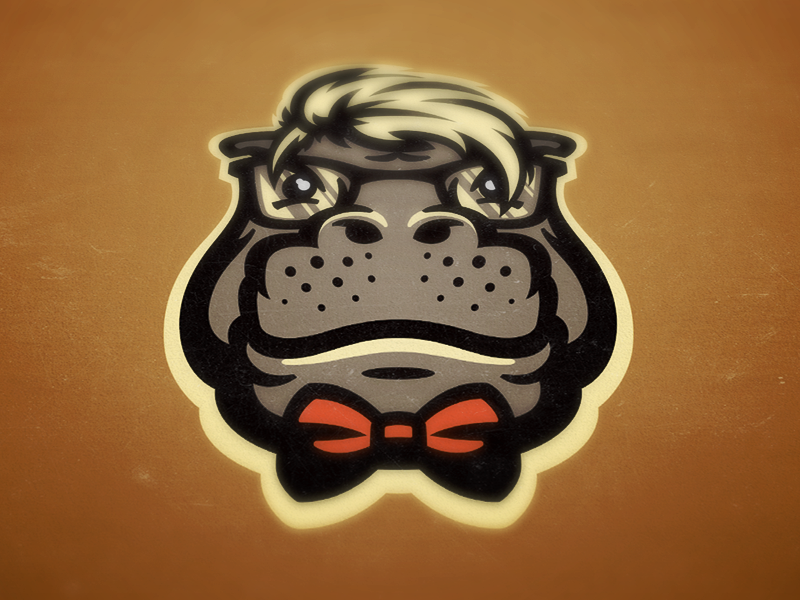 Hipposters hipster hippo hippopotamus mascot funny bow tie clink room