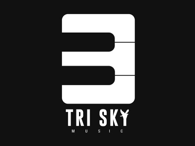 TriSky Music Company   Logo   Music Company Logo   Ajay Soni tri sky letter three three lettering techo aj logotype logo design logo ideas logo 2d 2d logo music music logo music company trisky logo