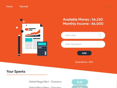 Budget Calculator 1.0 - Web App orange todoist todolist business budget ux vector design techo aj