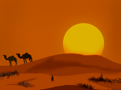Sunset In Desert ios desert sketch apple pencil ipad procreate
