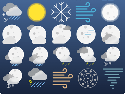 Night Version of Weather Icons ui  ux icon icon set icon design logo ui design ui sketchapp ios htc vive htc one