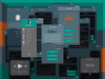 Daftari Redesigned notes app audio sound recorder notes calendar logo redesign dark android ui  ux design sketchapp daftari