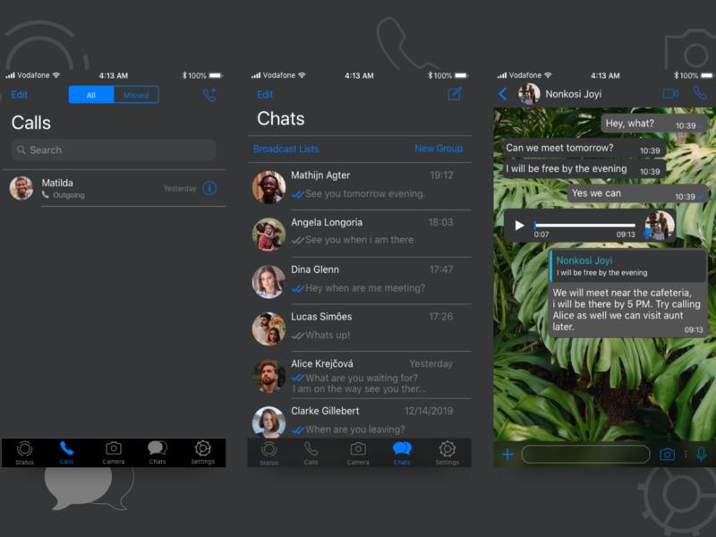 WhatsApp Dark Mode for iOS logo daily ui communication chat app ui design design ui  ux ios darkmode sketchapp whatsapp