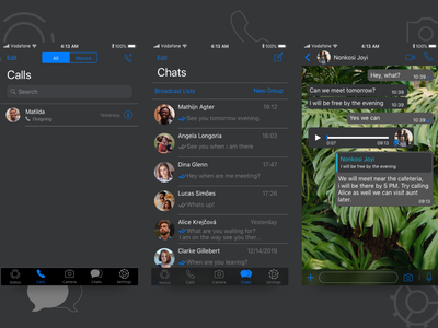 WhatsApp Dark Mode for iOS logo daily ui communication chat app ui design design ui  ux ios darkmode sketchapp whatsapp