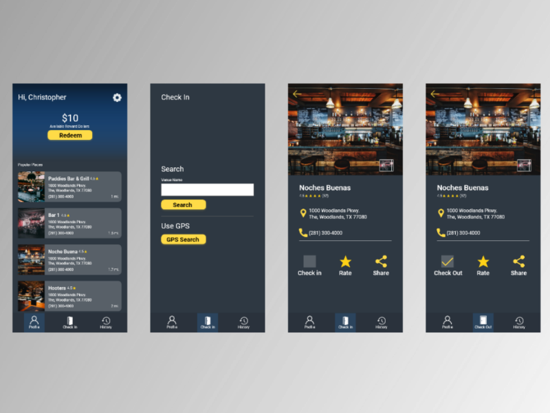 Bar Hop prototype design uxui