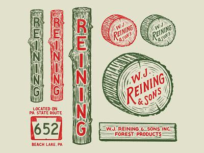 W.J. Reining & Sons Inc. lumber pennsylvania branding hand lettering logo illustration logotype