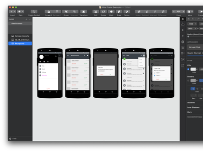 Security App concept wireframes native app android