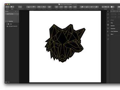 DuoLupo - wolf pin design sketch illustration pin