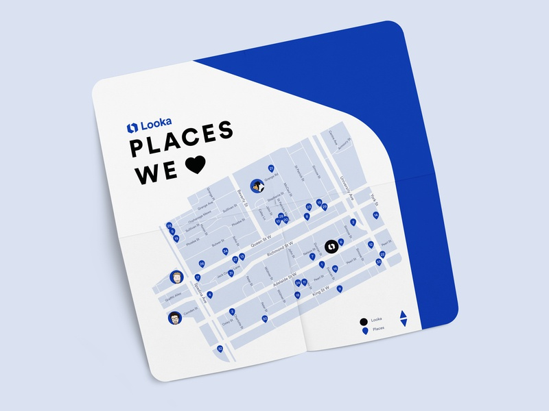 Places We 💙 from Looka on brand rounded corners lookadesign looka love pantone blue illustration brand photoshop looka mark looka soft touch cute fun icon design map illustration print vector design