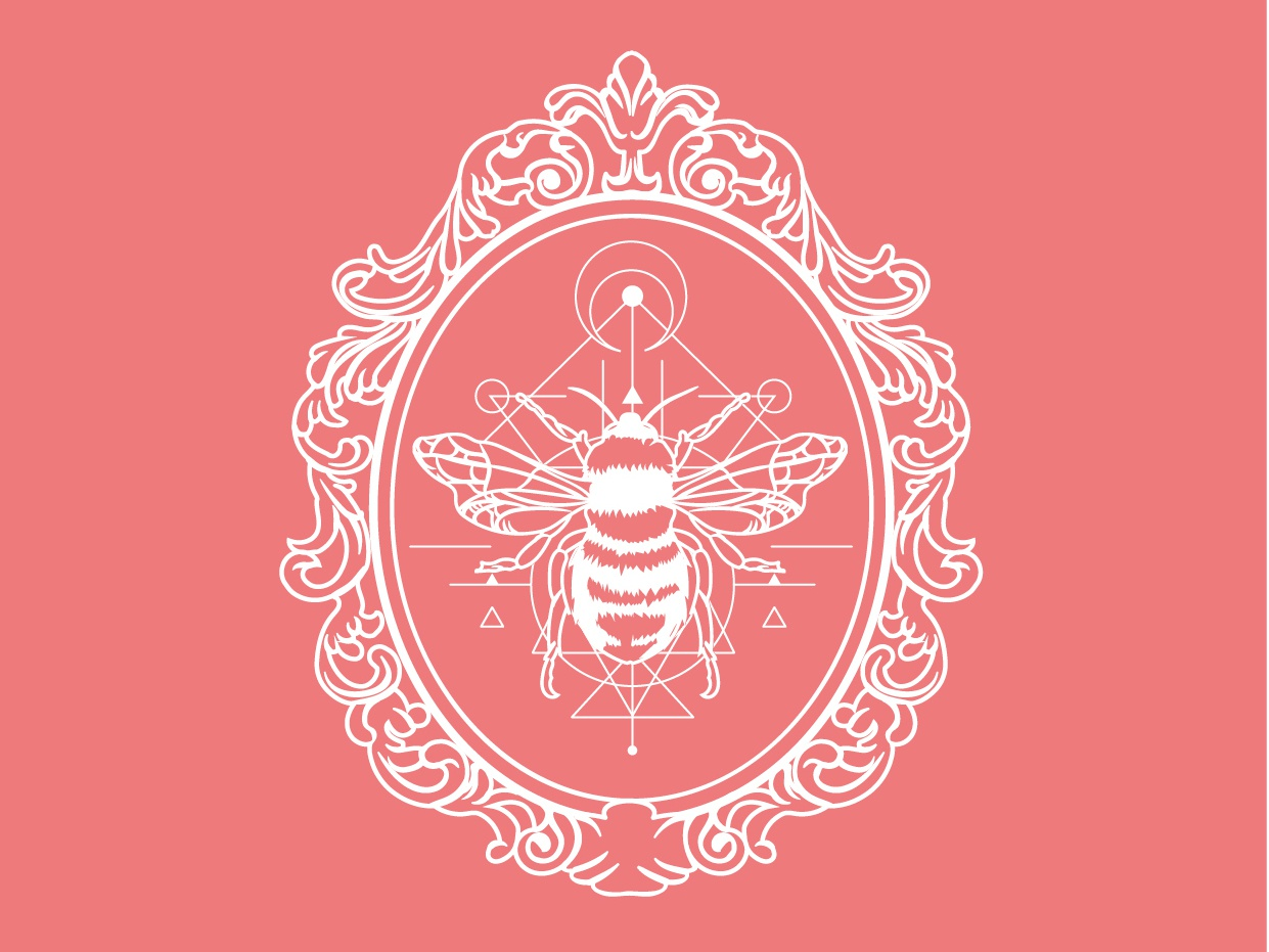 Busy Bee ornate bees sacred geometry logodesign vintage badge logo badgedesign vectorart vector monoline illustration design