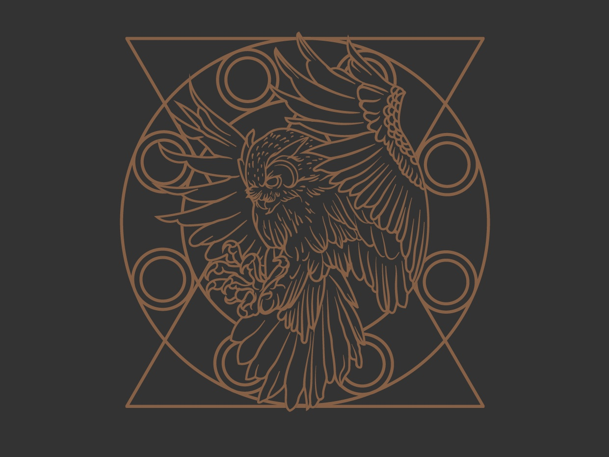 _Night Owl owl owl logo twin peaks sacred geometry branding minimal logodesign vintage badge logo badgedesign vectorart vector monoline illustration design