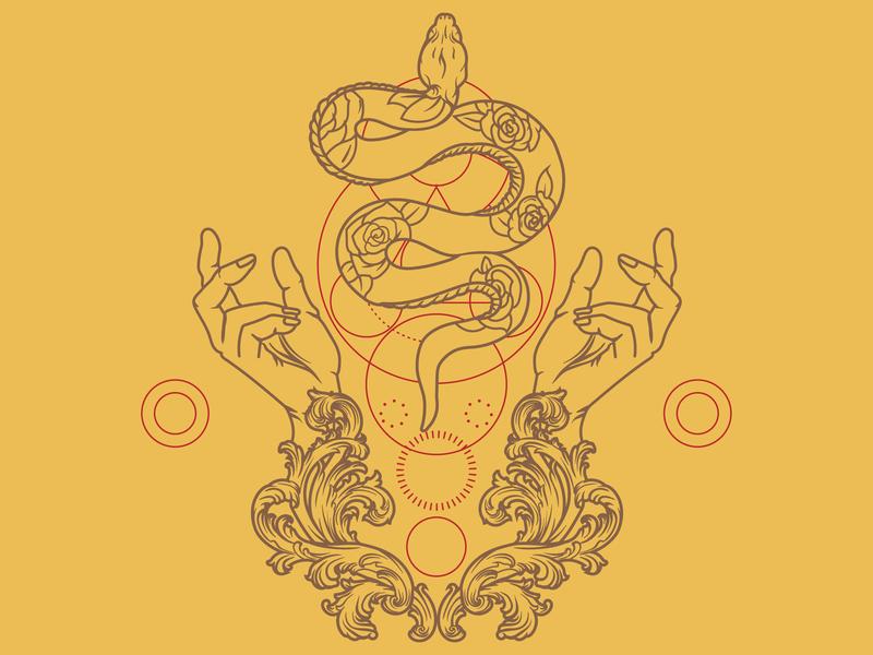 Snake charmer hands filigree snakes sacred geometry vintage badge vectorart vector monoline illustration design
