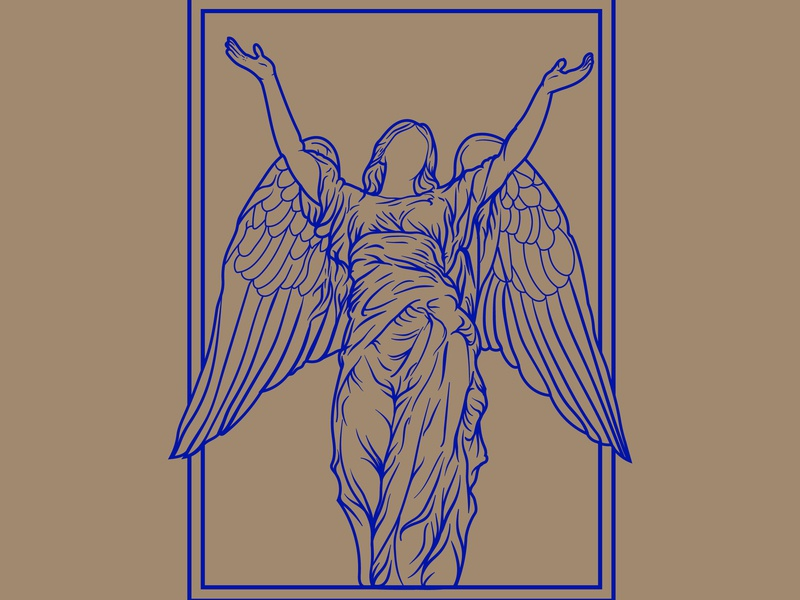 Saulutation angel statue vintage badge vectorart vector monoline illustration design