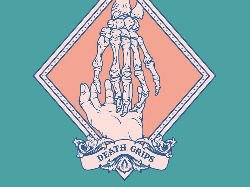 Your touch vs death geometric skeleton typography logodesign badgedesign vectorart vector monoline illustration design