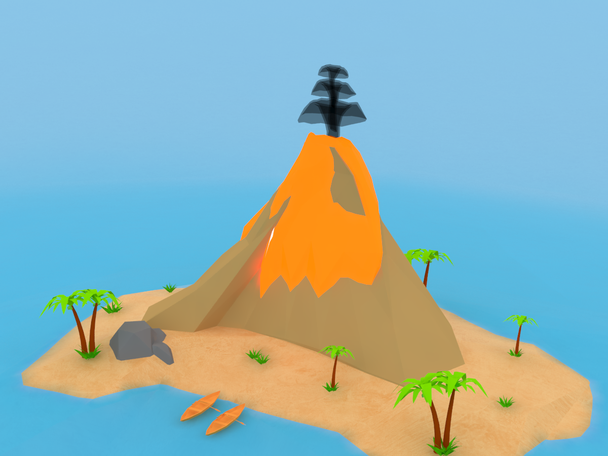 Volcano Island lava concept bushes landscape seascape ocean coconut volcano island kids art unity3d low poly 2d art model photoshop vector high poly design 3d art 3ds max