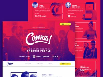 Canvas Conference 2016 website ux telegraph strava spotify slack sky scanner netflix intercom design conference