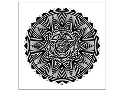 Black And White Star Mandala