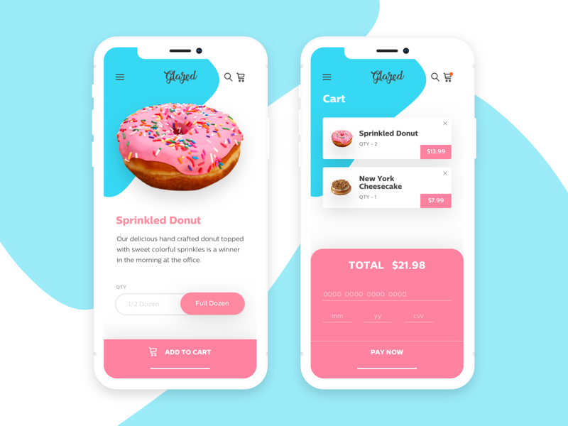 Glazed - Treat Yo' Self ui tastey sweet app mobile app mobile donuts