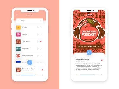 Pdkst - List & Description Views split iphone x design creative south mobile app mobile app podcast
