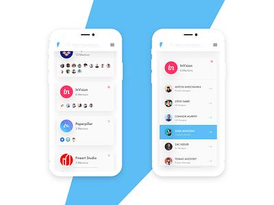 Yodah - Organizations View teams invision mobile app app mobile ui guide mentorship mentor yoda