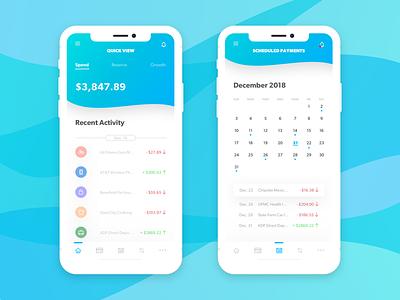 Bnkd - Manage Your Finances calendar gradient finance bank banking views sketch mobile app mobile