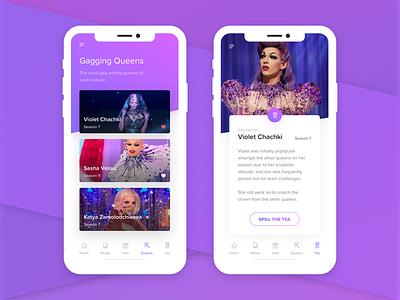 Gaggin' Drag ui rupaul drag queen gradient mobile app mobile app