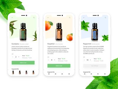 Essential Oils ecommerce cart oils ui light mobile app app mobile