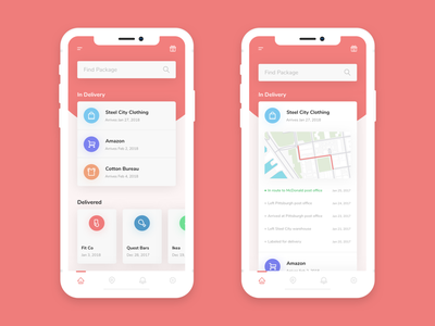 Dlvry - Package Tracking dropshadows gradient icons mobile app ux ui app mobile