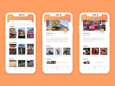Gym Locator fitness gym orange gradient mobile app ux ui app mobile