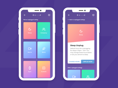 Zappd icons colors product design iphone x gradients ux ui app mobile