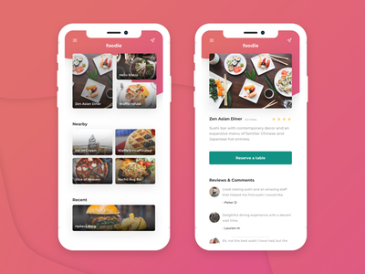Foodie food icons colors product design iphone x gradients ux ui app mobile