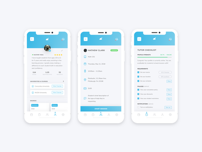 Nimbus Tutoring Mobile App : WIP ios gradient ux ui checklist profile education tutor app mobile app mobile