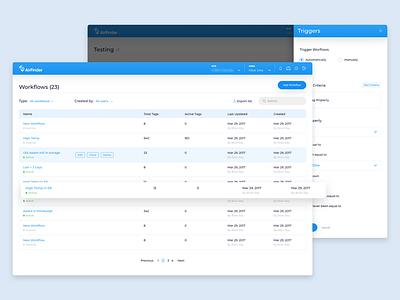 AirFinder : Workflow tables triggers workflow admin product design web app app ux ui